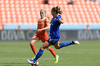 Houston, TX - Saturday May 27, 2017: Lindsay Elston takes a shot at the Houston Dash goal during a regular season National Women's Soccer League (NWSL) match between the Houston Dash and the Seattle Reign FC at BBVA Compass Stadium.