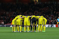The FC BATE Borisov team huddle before the UEFA Europa League match between Arsenal and FC BATE Borisov  at the Emirates Stadium, London, England on 7 December 2017. Photo by David Horn.