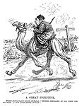 "A Great Incentive. Mehmed (reading despatch from the All-Highest). ""'Defend Jerusalem at all costs for my sake. I was once there myself.'"" (Mehmed V of Turkey rides a camel from Gaza to Jerusalem as his camel says Kismet during WW1)"