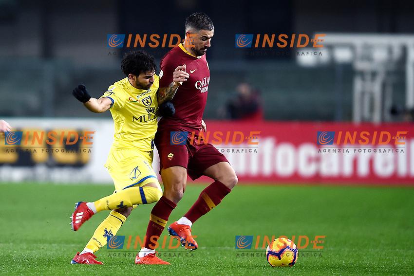 Mehdi Leris of AC Chievo Verona , Aleksandar Kolarov of AS Roma <br /> Verona 8-2-2019 Stadio Bentegodi Football Serie A 2018/2019 Chievo Verona - AS Roma <br /> Foto Image Sport / Insidefoto