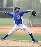 Luis Liria of the Chicago Cubs participates in intrasquad spring training games at the Cubs complex on March 21, 2011  in Mesa, Arizona. .Photo by:  Bill Mitchell/Four Seam Images.