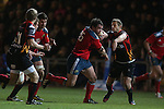 Munster replacement prop Damien Varley bursts through the Dragons defence.<br /> RaboDirect Pro12<br /> Newport Gwent Dragons v Munster<br /> Rodney Parade - Newport<br /> 29.11.13<br /> ©Steve Pope-SPORTINGWALES