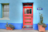 """Historic """"El Barrio"""" neighborhood in Tucson, Arizona with row after row of charming and colorful adobe houses built in the 1800's - since restored."""