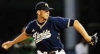 The Florida International University Golden Panthers (16-15, 3-6 Sun Belt) versus the University of Miami (17-13, 5-7 ACC) at Mark Light Field, Coral Gables, Florida on Wednesday, April 4, 2007...Freshman pitcher Ryan Bernal (35)