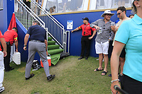 Matt Wallace (ENG) ball under the steps to hospitality on the 18th fairway during the 3rd round of the DP World Tour Championship, Jumeirah Golf Estates, Dubai, United Arab Emirates. 17/11/2018<br /> Picture: Golffile | Fran Caffrey<br /> <br /> <br /> All photo usage must carry mandatory copyright credit (&copy; Golffile | Fran Caffrey)