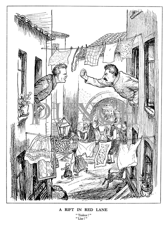 "A Rift in Red Lane. ""Traitor!"" ""Liar!"" (cartoon showing Stalin waving an angry fist at marshal Tito between the washing lines as Yugoslavs run for cover below)"