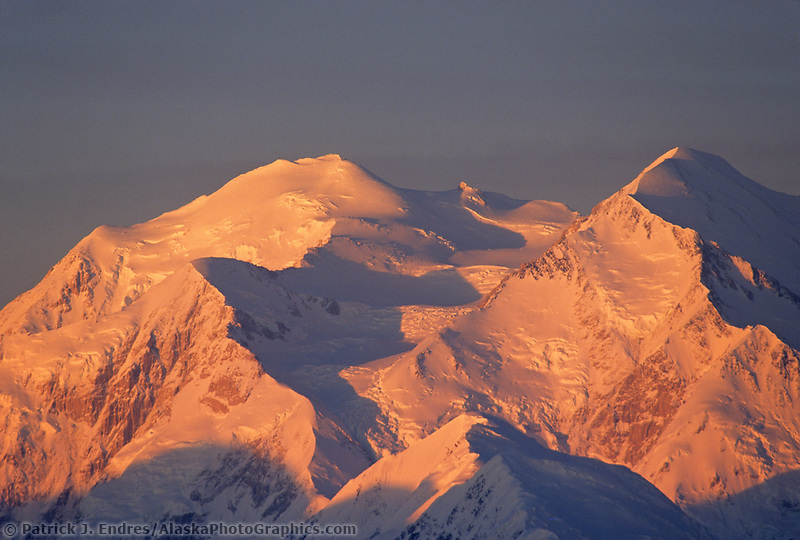Sunrise On The North And South Peaks Of Denali, North America's Highest Mountain.
