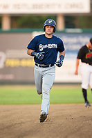 KJ Harrison (16) of the Helena Brewers rounds the bases after hitting a home run against the Great Falls Voyagers at Centene Stadium on August 19, 2017 in Helena, Montana.  The Voyagers defeated the Brewers 8-7.  (Brian Westerholt/Four Seam Images)
