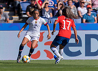 PARIS,  - JUNE 16: Mallory Pugh #2 dribbles past Javiera Toro #17 during a game between Chile and USWNT at Parc des Princes on June 16, 2019 in Paris, France.