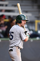 Beloit Snappers outfielder Justin Higley (25) on deck during a game against the Clinton LumberKings on August 17, 2014 at Ashford University Field in Clinton, Iowa.  Clinton defeated Beloit 4-3.  (Mike Janes/Four Seam Images)
