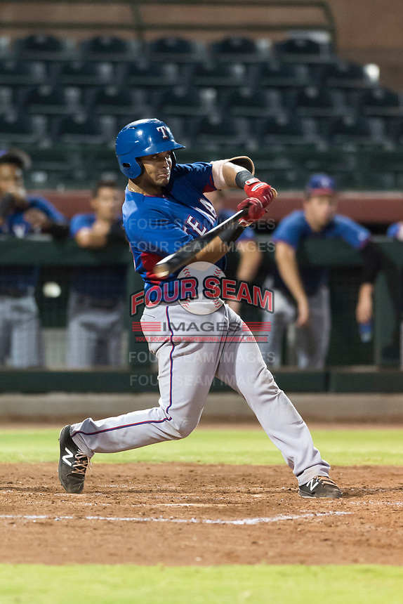 AZL Rangers first baseman Fernando Valdez (46) swings at a pitch during an Arizona League game against the AZL Giants Black at Scottsdale Stadium on August 4, 2018 in Scottsdale, Arizona. The AZL Giants Black defeated the AZL Rangers by a score of 6-3 in the second game of a doubleheader. (Zachary Lucy/Four Seam Images)