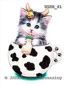 Kayomi, CUTE ANIMALS, paintings, CupKittyCow_M, USKH41,#AC# stickers illustrations, pinturas ,everyday