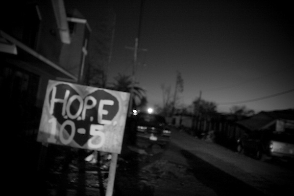 St. bernard parish, just outside New Orleans, was also devastated by hurricane Katrina and is struggling to rebuild and salvage what has been left by the storm. A sign of HOPE stands at the roadside to welcome the returning residents.