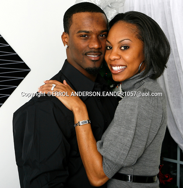 Aaron Ross Rookie Cornerback for the New York Giants and Sanya  Richards  USA 400m record holder,  2005 400m World Outdoor  Silver Medalist and 3 time number 1 World Ranking in the 400m announced their engagement on Sunday, December 16th. 2007. Photo by Errol Anderson. Aaron Ross Rookie Cornerback for the New York Giants and Sanya  Richards  USA 400m record holder,  2005 400m World Outdoor  Silver Medalist and 3 time number 1 World Ranking in the 400m announced their engagement on Sunday, December 16th. 2007. Photo by Errol Anderson.