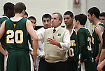 Manogue Head Coach Bill Ballinger talks to his team during a boys basketball game between Bishop Manogue and Douglas High in Minden, Nev., on Thursday, Dec. 22, 2011..Photo by Cathleen Allison