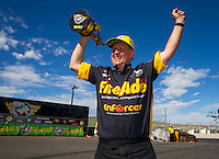 Jul 26, 2015; Morrison, CO, USA; NHRA pro stock driver Larry Morgan celebrates after winning the Mile High Nationals at Bandimere Speedway. Mandatory Credit: Mark J. Rebilas-USA TODAY Sports