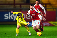 Fleetwood Town's Lewis Coyle competes with Burton Albion's Lucas Akins<br /> <br /> Photographer Richard Martin-Roberts/CameraSport<br /> <br /> The EFL Sky Bet League One - Saturday 15th December 2018 - Fleetwood Town v Burton Albion - Highbury Stadium - Fleetwood<br /> <br /> World Copyright &not;&copy; 2018 CameraSport. All rights reserved. 43 Linden Ave. Countesthorpe. Leicester. England. LE8 5PG - Tel: +44 (0) 116 277 4147 - admin@camerasport.com - www.camerasport.com