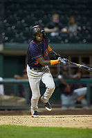 Osmy Gregorio (3) of the Bowling Green Hot Rods follows through on his swing against the Fort Wayne TinCaps at Parkview Field on August 20, 2019 in Fort Wayne, Indiana. The Hot Rods defeated the TinCaps 6-5. (Brian Westerholt/Four Seam Images)