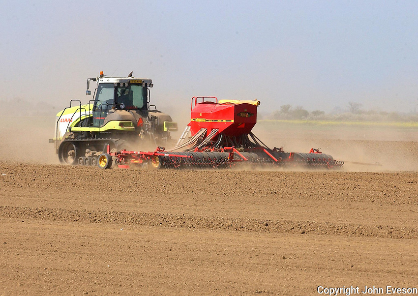 Drilling with CLAAS tractor on Farmcare's Pasture Farm, near Goole..Andrew Seed (manager) 07740 637497.