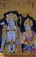 """Asie/Inde/Rajasthan/Jaipur: Temple Hindou """"Sita Ram Ji"""" sur Chhoti Chaupar - Détail peinture dédiée à Rama et Sita"""
