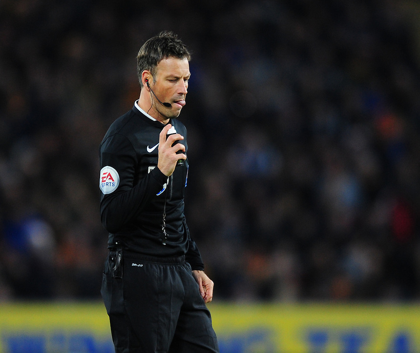 Referee Mark Clattenburg<br /> <br /> Photographer Chris Vaughan/CameraSport<br /> <br /> Football - The Football League Sky Bet Championship - Hull City v Burnley - Saturday 26th December 2015 - Kingston Communications Stadium - Hull<br /> <br /> &copy; CameraSport - 43 Linden Ave. Countesthorpe. Leicester. England. LE8 5PG - Tel: +44 (0) 116 277 4147 - admin@camerasport.com - www.camerasport.com