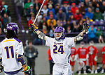 Alex Burgmaster (#24) celebrates a goal as UAlbany Men's Lacrosse defeats Richmond 18-9 on May 12 at Casey Stadium in the NCAA tournament first round.