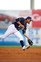 San Antonio Missions shortstop Jose Rondon (6) fields a ground ball during a game against the Midland RockHounds on April 21, 2016 at Nelson W. Wolff Municipal Stadium in San Antonio, Texas.  Midland defeated San Antonio 9-2.  (Mike Janes/Four Seam Images)
