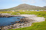 Atlantic coastline rocky headlands and small pebble bays at Borgh, Barra, Outer Hebrides, Scotland, UK