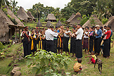 INDONESIA, Flores, Ngada District, members of Belaraghi village play music to welcome their guests