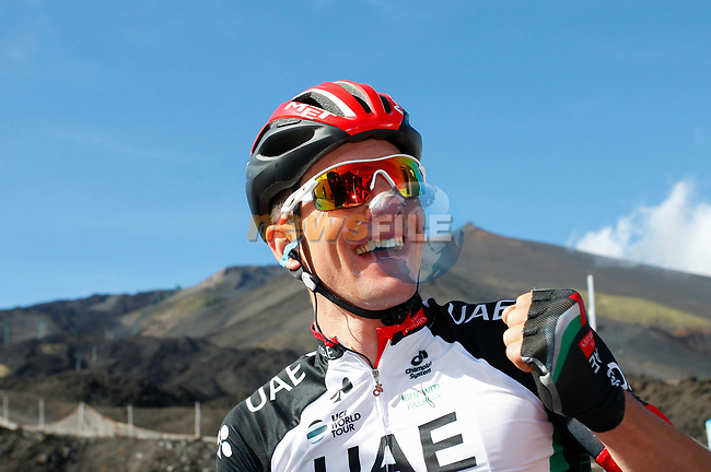 Jan Polanc (SLO) UAE Team Emirates wins Stage 4 of the 100th edition of the Giro d'Italia 2017, running 181km from Cefalu to Mount Etna, Sicily, Italy. 9th May 2017.<br /> Picture: LaPresse/Simone Spada | Cyclefile<br /> <br /> <br /> All photos usage must carry mandatory copyright credit (&copy; Cyclefile | LaPresse/Simone Spada)