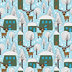 Reindeer Seamless pattern vector. Hand drawn style cute winter vector pattern with of a snowy village, cute homes, snow laden trees and reindeer roaming around. <br /> <br /> WANT TO ZOOM IN ON JUST THE BASE TILE OF THIS PATTERN TO HAVE A CLOSER LOOK?<br /> <br /> You can also find the image of a single tile of this pattern in this gallery.<br /> <br /> Tip: It should be the image next to this one, or, just search &quot;seamless+reindeer&quot;!<br /> <br /> Available also as latest EPS format (Scalable to infinite size) and PNG format.