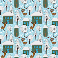 """""""Reindeer in a Winter Town"""" is a hand illustrated scalable vector surface pattern depicting a cute imaginary town covered in snowfall when a reindeer decides to visit it!<br /> <br /> Suitable to print on various types of surfaces including fabric, wallpapers, stationery, home decor & lifestyle products.<br /> <br /> Contact for commercial/editorial/marketing collaboration for this design. Change requests for colors can be considered."""