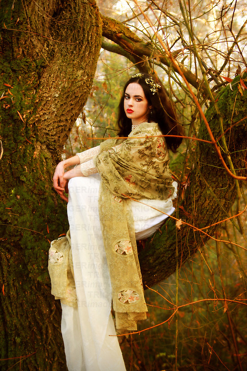 A pretty brunette in a long white gown sitting on a tree in an autumnal forest.