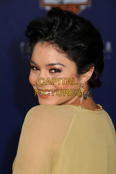 "Vanessa Hudgens.Premiere of ""Captain America: The First Avenger"" held at The El Capitan Theatre in Hollywood, California, USA..July 19th, 2011.headshot portrait yellow gold beige sheer short cropped hair dangling earrings smiling looking over shoulder butterfly tattoo.CAP/ADM/BP.©Byron Purvis/AdMedia/Capital Pictures."