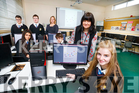 Pictured on Tuesday morning, at Coláiste na Ríochta, Listowel, who announced that they are one of 40 schools in Ireland to study Computer Science for the Leaving Certificate 2020, Mateusz Waloszek, Martina Bajgerova, Daniel Ahern, Iseult Glynn (Deputy Principal), Nikos Szejpo, Elaine O'Connor (Computer Science Teacher) and Kaoife Carey.