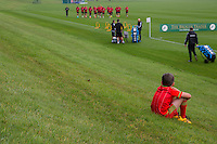 A young fan watches on during the Wales open Training session ahead of the opening FIFA World Cup 2018 Qualification match against Moldova at The Vale Resort, Cardiff, Wales on 31 August 2016. Photo by Mark  Hawkins / PRiME Media Images.