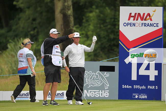 Kristoffer Broberg (SWE) on the 14th tee during Round 3 of the HNA Open De France  at The Golf National on Saturday 1st July 2017.<br /> Photo: Golffile / Thos Caffrey.<br /> <br /> All photo usage must carry mandatory copyright credit      (&copy; Golffile | Thos Caffrey)