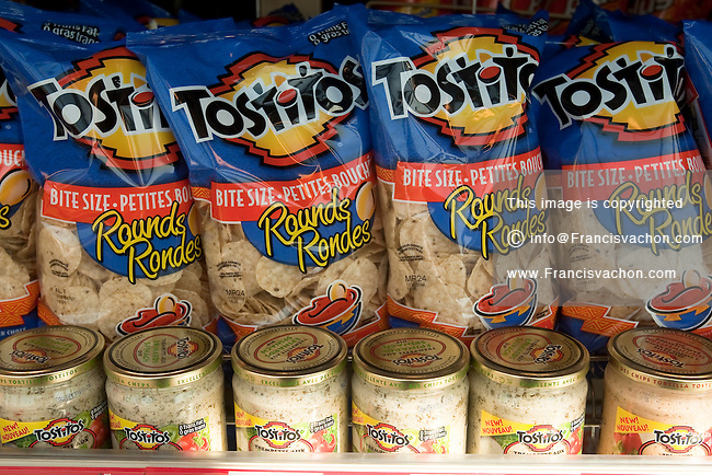 Tostitos tortilla chips and dips are seen in a Metro grocery store in Quebec city March 4, 2009.