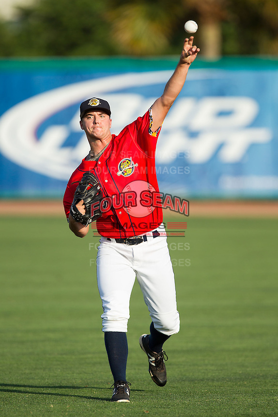 Charleston RiverDogs starting pitcher Ian Clarkin (16) warms up in the outfield prior to the game against the Greenville Drive at Joseph P. Riley, Jr. Park on May 26, 2014 in Charleston, South Carolina.  The Drive defeated the RiverDogs 11-3.  (Brian Westerholt/Four Seam Images)