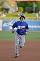 Taylor Teagarden (23) of the Las Vegas 51s rounds the bases after hitting a home run in action against the Salt Lake Bees at Smith's Ballpark on May 8, 2014 in Salt Lake City, Utah.  (Stephen Smith/Four Seam Images)