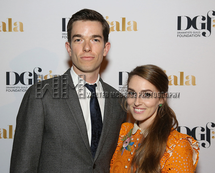 John Mulaney and Annamarie Tendler attends 2017 Dramatists Guild Foundation Gala reception at Gotham Hall on November 6, 2017 in New York City.