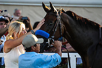 Jill Baffert congratulating Executiveprivilege winner of the Del Mar Debutante at Del Mar Race Course in Del Mar, California on September 1, 2012.