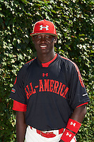 Outfielder Alexander Paredes (8) of La Romana, Dominican Republic poses for a photo before the Under Armour All-American Game on August 24, 2013 at Wrigley Field in Chicago, Illinois.  (Mike Janes/Four Seam Images)