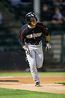 Eddy Alvarez (1) of the Kannapolis Intimidators hustles down the first base line against the Hickory Crawdads at L.P. Frans Stadium on April 23, 2015 in Hickory, North Carolina.  The Crawdads defeated the Intimidators 3-2 in 10 innings.  (Brian Westerholt/Four Seam Images)