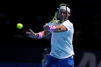 15th November 2019; 02 Arena. London, England; Nitto ATP Tennis Finals; Rafael Nadal (Spain) with a forehand return Stefanos Tsitsipas (Greece) - Editorial Use
