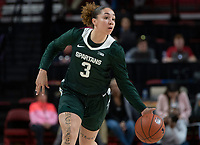 COLLEGE PARK, MD - FEBRUARY 03: Alyza Winston #3 of Michigan State on the attack during a game between Michigan State and Maryland at Xfinity Center on February 03, 2020 in College Park, Maryland.