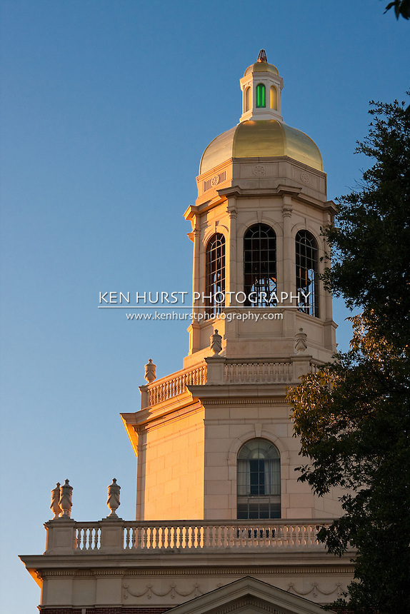 View of the administration building, Pat Neff Hall, from Founders Mall at Baylor University, Waco, Texas.