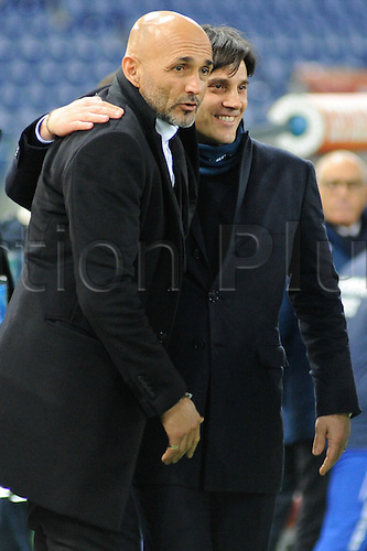 07.02.2016. Stadium Olimpico, Rome, Italy.  Serie A football league. AS Roma versus Sampdoria. Coach Spalletti(R) WITH MONTELLA(S)