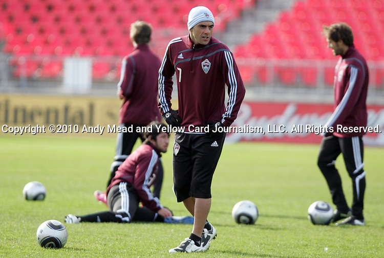 20 November 2010: Claudio Lopez (ARG) (7) and teammates stretch. Colorado Rapids held a practice at BMO Field in Toronto, Ontario, Canada as part of their preparations for MLS Cup 2010, Major League Soccer's championship game.