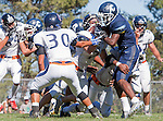 Palos Verdes, CA 09/24/16 - Ejaay Vaughn (Chadwick #3). Brevin Johnson (Rolling Hills #7) and Kellen Hirayama (Rolling Hills #30) in action during the non-conference CIF 8-Man Football  game between Rolling Hills Prep and Chadwick at Chadwick.
